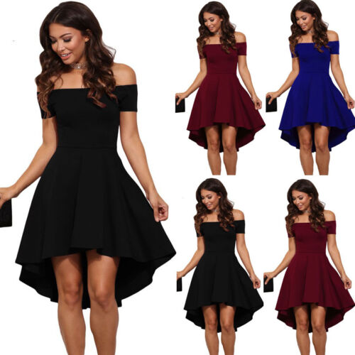 Dress - US Fashion Women Off Shoulder Short Sleeve Bodycon Dress Evening Party Cocktail