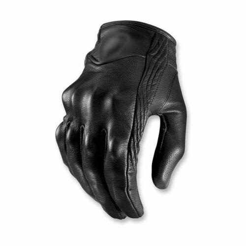 Motorradhandschuhe Leder Motorrad Handschuhe Sommer Schwarz Gr S-XXL