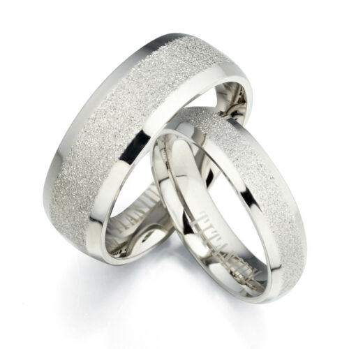 Unisex Silver Scrub Plain Couple Matching Titanium Weddin...