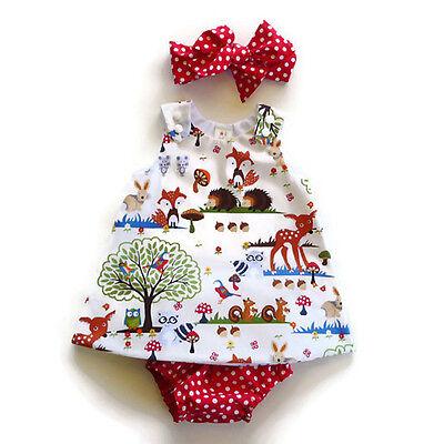 Kleinkind Baby Kinder Mädchen Kleid + Stirnband +Hose Sommer Outfit Kleidung Set - Baby Kleid Set