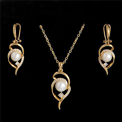 Hot Elegant Gold Plated Pearl Austrian Crystal Jewelry Set Earrings Necklace