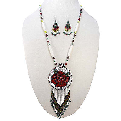 NEW WOMEN CHUNKY HANDMADE BEADED WHITE RED NECKLACE EARRING SET S51/3