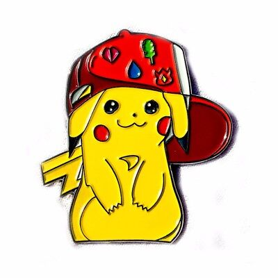 Pikachu with Gym Badges Pokemon Nerdy Video Game TV Enamel Heady Lapel Pin Badge for sale  Shipping to South Africa