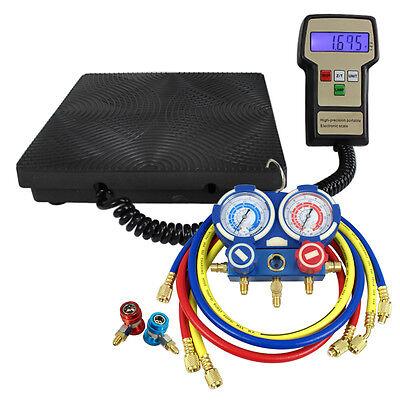 Digital HVAC Manifold Gauge Air Condition A/C and Refrigerant Scale Set R134a Home & Garden