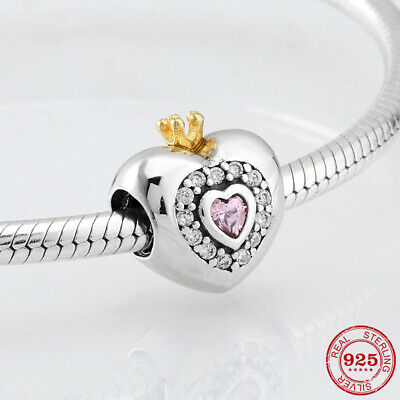 925 Sterling Silver Real Crown Heart European Charm Bead fiit Pandora DIY Gifts