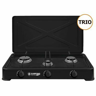 Trio Cocina de Gas 3-flammig Cocinilla de Camping Encimera Estufa