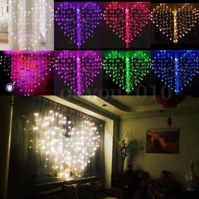 128 LED Heart-Shape Fairy String Curtain Light Valentine's Day Wedding Party QA