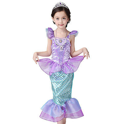 Little Mermaid Girl Kostüme (Kids Girl Little Mermaid Ariel Princess Cospaly  Dress Up Costume Outwear 7-8T)