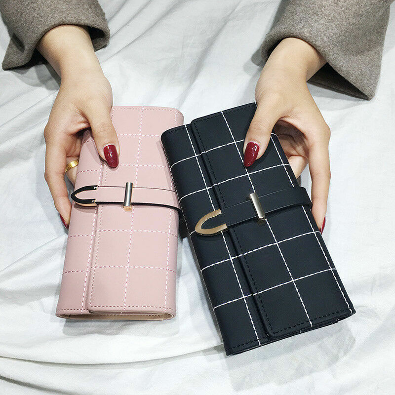 Fashion Women Leather Clutch Plaid Wallet Long Card Phone Holder Purse Handbag Clothing, Shoes & Accessories