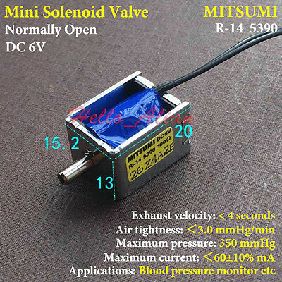 DC 6V MITSUMI R-14 Mini Electric Solenoid Valve Normally Open for Gas Air Valve