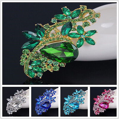 (Grace Large Flower Women Lady Party Crystal Rhinestone Silver Brooch Pin ON SALE)