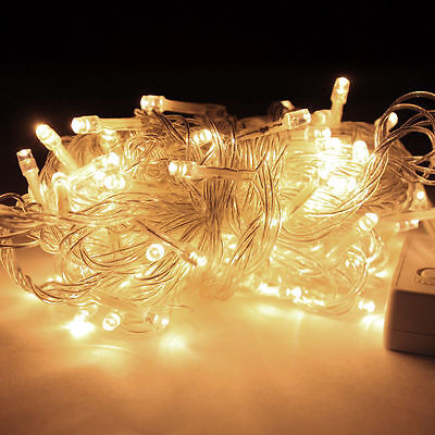 32ft 100 LED Warm WHITE String Fairy Lights Party Christmas Decor Outdoor Indoor](Indoor Christmas Decorations)