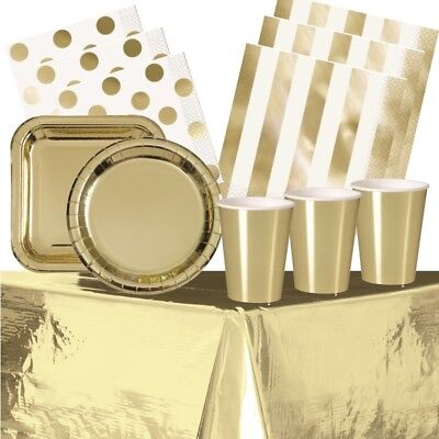 Gold Foil Party Supplies Tableware (Cups Plates Napkins Tablecover)