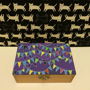 Wooden box with hand-painted lid