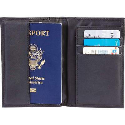 Solid Black Genuine Leather Passport Cover w/ RFID, Travel ID Card Wallet