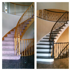 CARPET STAIR TO SOLID OAK WOOD