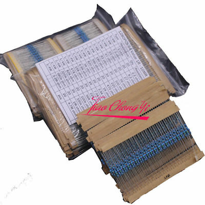 64 values 1280pcs 1 ohm - 10M ohm 1/4W Metal Film Resistors  Assortment Kit