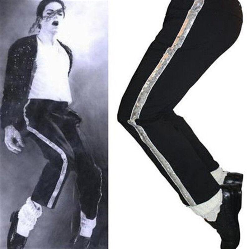 Black Billie Jean MJ Michael Jackson Entertainers Straight Trousers Pants