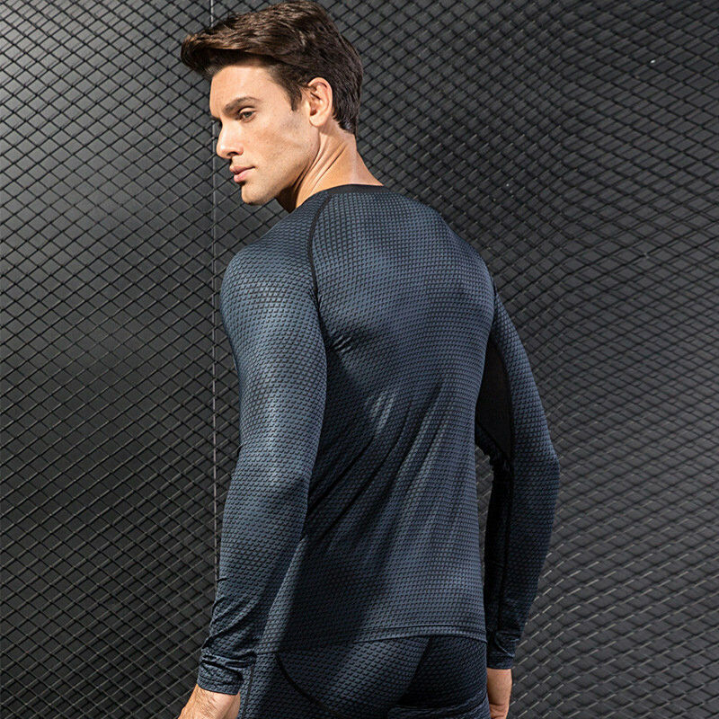 Men Compression Base Layer T-Shirt Thermal Sports Long Sleeve Workout Tee Tops Clothing, Shoes & Accessories