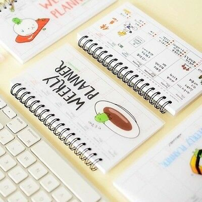 Cartoon Calendar Schedule Coil Notebook Agenda Lovely Kids Gifts Weekly Planner
