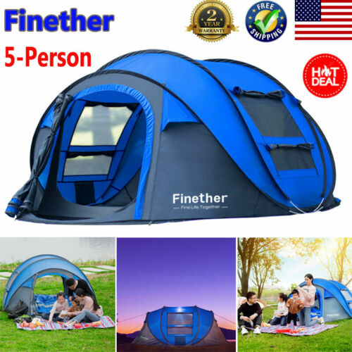 Portable Automatic Pop Up 5-Person Camping Tent Beach Hiking Traveling Shelter