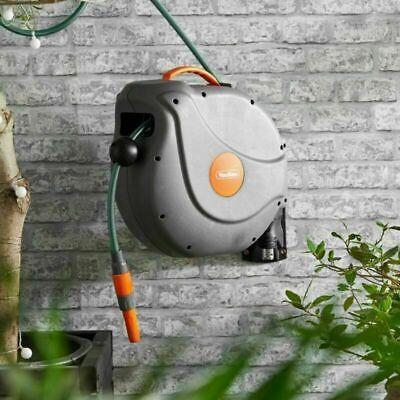 Garden Hose Reel Water Pipe Auto Rewind Lock Wall Mounted Retractable 20M Long