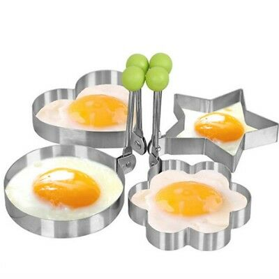 Heart Pancake (4pcs Stainless Steel Fried Egg Ring Pancake Mold Heart/Round/Star/Flower Shapes)
