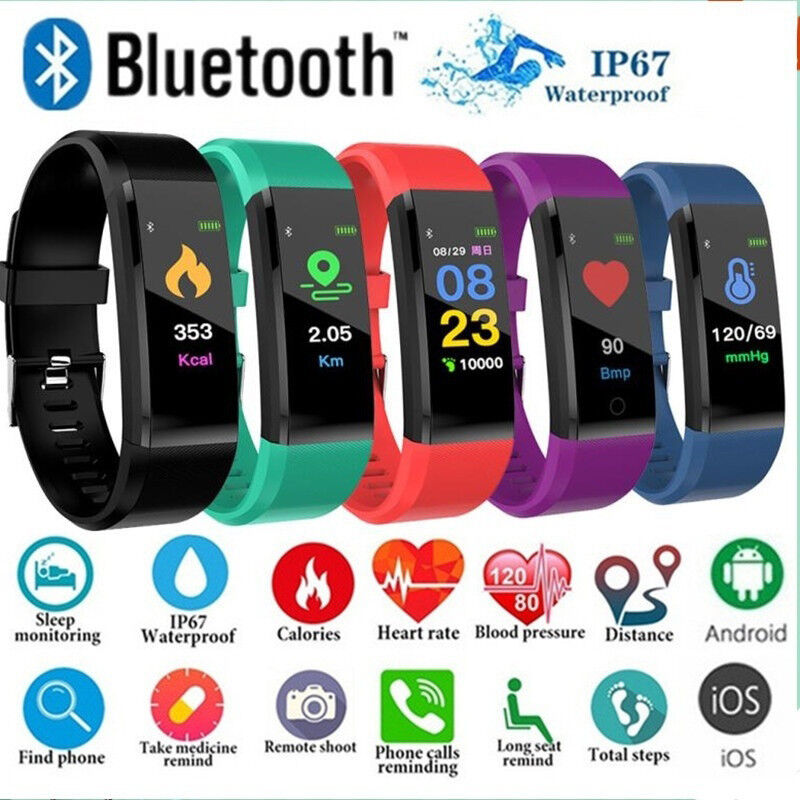 Android Phone - Smart Sports Fitness Tracker Watch Waterproof Heart Rate Activity Fitbit Monitor