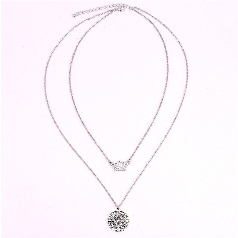 Women Boho Silver 2 Layer Compass Lotus Flowers Crystal Choker