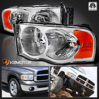 2002-2005 Dodge Ram 1500/2500/3500 Crystal Clear Replacement Headlights PAIR Dodge Ram 2500 Slt