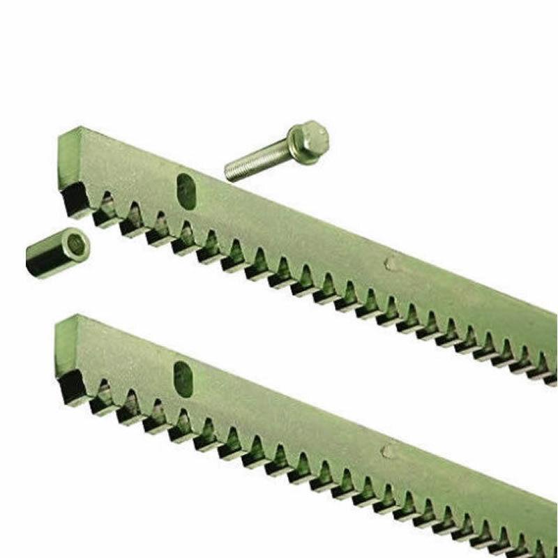 2 Stück Zahnstangen Stahl 30x12x1000mm, mit 3 Abstandsbolzen; Schiebetor Antrieb
