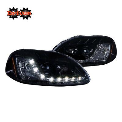 For  96-98 Civic Projector R8 LED DRL Smoked Tinted Lens Black Housing Headlight Civic Projector Headlights Black Housing