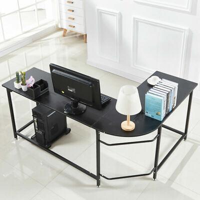 L-shape Corner Computer Desk Laptop Wood Steel Workstation Home Office Study Us