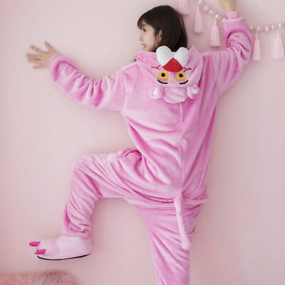 Unisex Pink Panther Nightwear Animal Kigurumi Pajamas Cosplay Costumes Jumpsuit