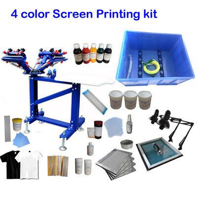 Silk Screen 4 Color 1station Printing Kit Shirt Press Machine Wiht Exposure Unit