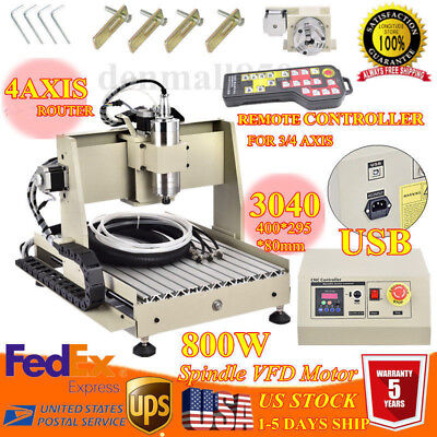 Usb 4 Axis Cnc 3040 Router Engraver Machine Wood Milling Cutting 800wcontroller