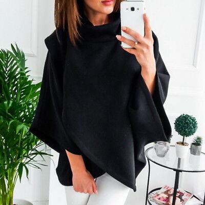 Damen Hoher Kragen Warme Hoodies Langarm Cape Jacken Lässige Tops Outwear g/s