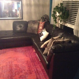 Black Leather Sectional Kitchener / Waterloo Kitchener Area image 1