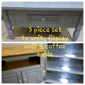 3 piece set solid wood tv unit display unit with lights free table