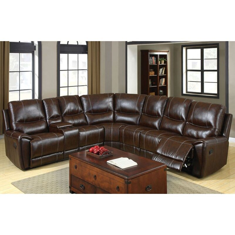 Transitional Brown Bonded Leather 3 Recliner Sectional Set Living Room Furniture
