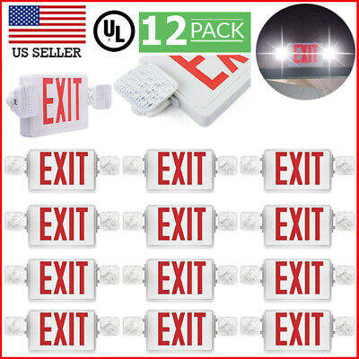 12 Pack Emergency Lights Red Exit Sign Wdual Led Lamp Abs Supermarkets Red Exit
