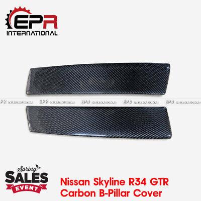 - Carbon Fiber B-Pillar Cover Add-On Body Kits - For Nissan Skyline R34 GTR GTT