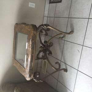 Marble and iron end table