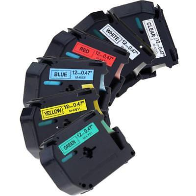 Mk131 Mk231 431 531 631 731 Compatible Brother P-touch Label Tape Pt65 12mm 6pk