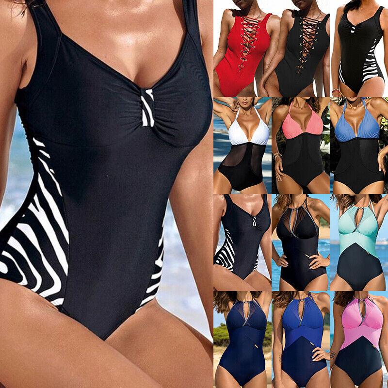 Damen Monokini Bikini Hochdrücken BH Bandage Badeanzug Bademode Sommer Strand