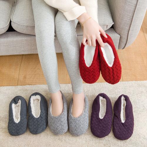 Women Lady Non Slip Winter Warm Knitted Slipper Socks Grippe