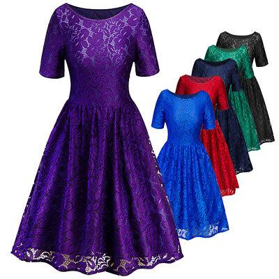 - Women Short Sleeve Rockabilly Vintage Floral Lace Cocktail Evening Party Dress