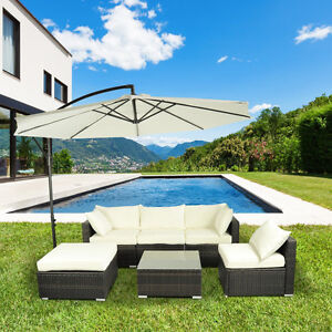6pcs Deluxe Outdoor Rattan Wicker Sofa Garden Sectional Couch Pa