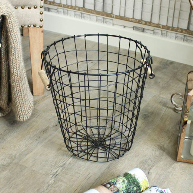Black metal wire basket waste paper bin kitchen bedroom for Waste baskets for bathroom