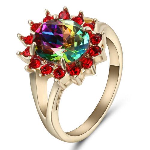 Size 8 Women's Rainbow Topaz Crystal Engagement Ring 10Kt Ye